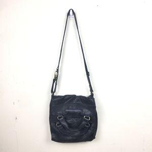 Black Leather Foldover Flap Shoulder Crossbody Bag